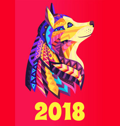 New year poster 2018 with dog symbol brochure vector