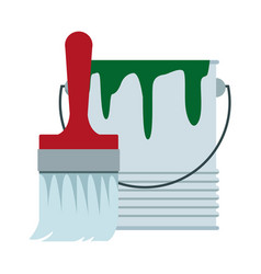 paint brush and bucket can construction vector image
