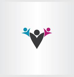 Parent and children letter v logo icon vector