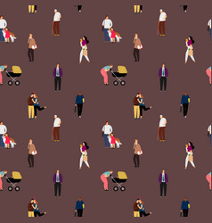 people flat seamless pattern vector image