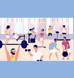 people in gym athletes group doing fitness vector image