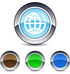 planet round button vector image