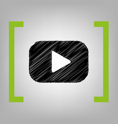 play button sign black scribble icon in vector image