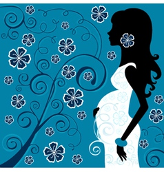Pregnant beauty in flowers vector image
