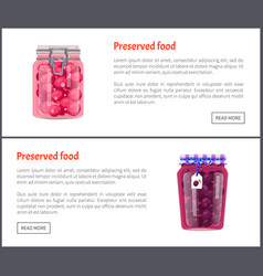 Preserved food posters plums vector