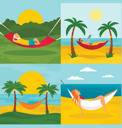 Rest hammock banner set flat style vector