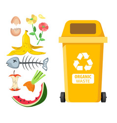Rubbish bin for recycling different types of waste vector