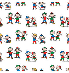 seamless background funny cartoon kids in vector image