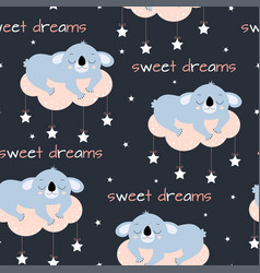 seamless pattern cute sleeping koala vector image