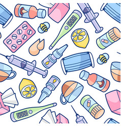 seamless pattern with medicines and medical vector image