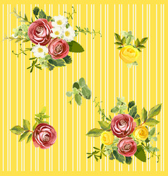 seamless striped style floral pattern vector image