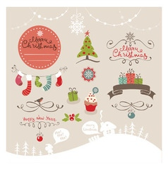 Set funny design elements for Christmas vector