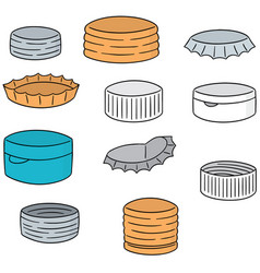set of bottle cap vector image