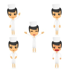 set of funny cartoon nurse vector image