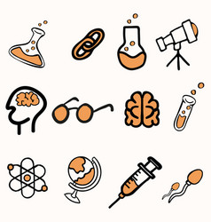 Set science doddle sign concepts vector
