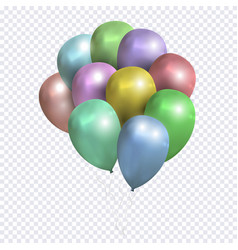sheaf of colored balloons on transparent vector image