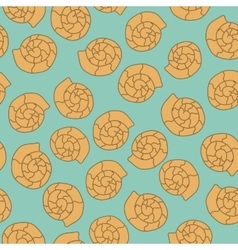 Shell seamless pattern on the blue background vector image