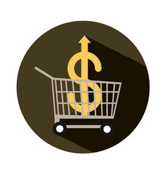 Shopping cart with money going up arrow rising vector