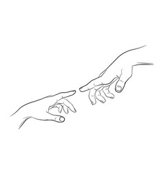 sketch touching hands black and white vector image