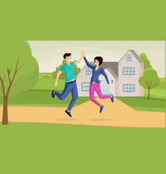 Smiling couple and country house flat vector