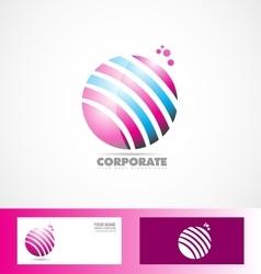 Sphere 3d pink blue logo vector image