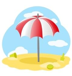 Striped beach umbrella vector