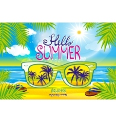 summer blurred beach with sunglasses vector image