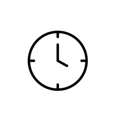 Thin line clock icon vector