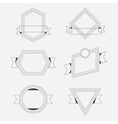 Thin line geometrical banners design elements set vector image