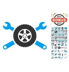 Tire Service Wrenches Icon With 2017 Year Bonus vector