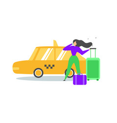 traveling woman calling taxi service flat vector image