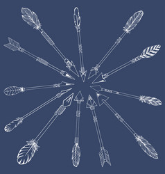Tribal indian arrow set ethnic hand drawn vector
