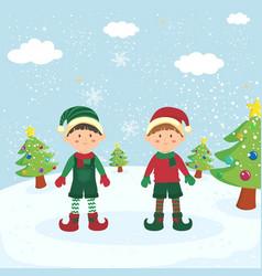 Twin christmas elf boys greeting card vector