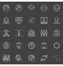 UFO and ufology line icons vector