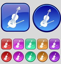 Violin icon sign A set of twelve vintage buttons vector image