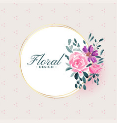 Watercolor floral flower on white frame background vector