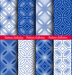 white blue dots floral patterns backgrounds vector image