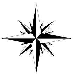 Wind rose with intermediate points compass star vector