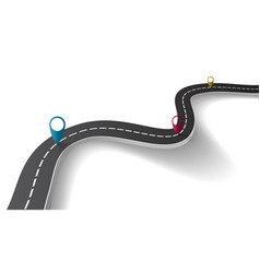 winding road with transparent shadow template on vector image