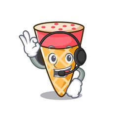 With headphone ice cream tone mascot cartoon vector