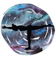 women silhouette warrior 3 yoga pose vector image