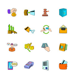 bank icons set cartoon vector image vector image