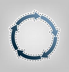 circular arrows sign blue icon with vector image vector image