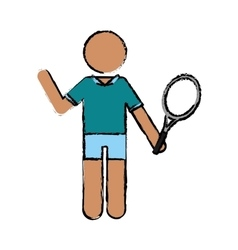 drawing character player tennis and racket vector image vector image