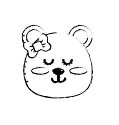 Figure teddy bear girl head animal wild vector