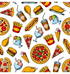 Retro seamless pattern of fast food dishes vector image vector image