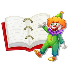 A clown and the big notebook vector image vector image