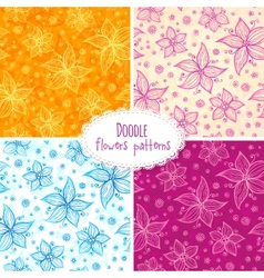 Hand drawn flower seamless patterns set vector image vector image