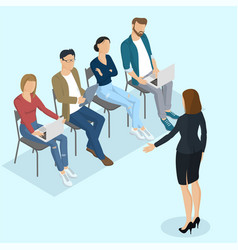 isometric people briefing vector image vector image