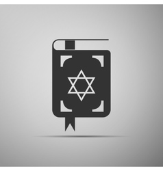 Jewish torah book icon on grey background vector image